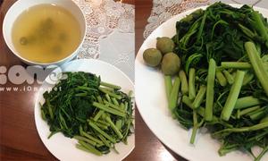 Luộc rau muống mix rau rút xanh rờn, giòn tan