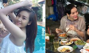 Facebook sao 23/7: Bà Tưng khoe dáng ở bể bơi, Lý Nhã Kỳ mặc đồ sang ăn vỉa hè