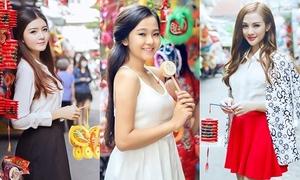 Hot girls Việt khoe dáng xinh dạo phố đèn lồng