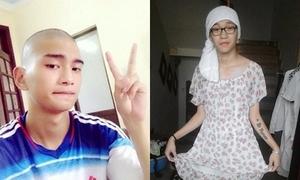 3 chàng trai cạo đầu, mặc váy vì thua cược bóng đá