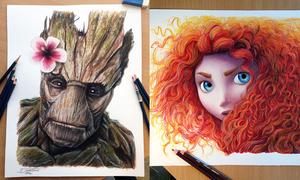 Chàng nghệ sĩ vẽ Groot, công chúa tóc xù bằng chì màu đẹp mê ly