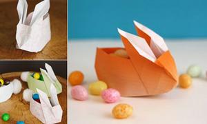 Tỉ mẩn gập thỏ giấy origami đựng đồ xinh xinh