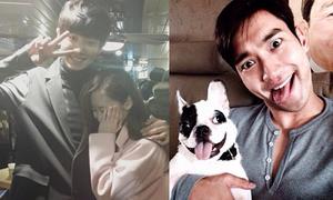 Sao Hàn 25/10: Chan Yeol ôm chặt 'gái lạ', Si Won le lưỡi giả cún