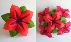 Gấp hoa 4 cánh dễ thương bày bàn