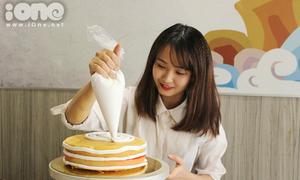 Hot girl wushu hì hụi làm bánh sinh nhật cực yêu