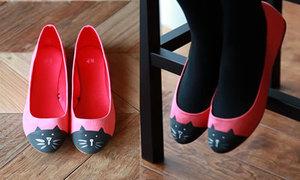 Giày cap toe mặt mèo cực iu