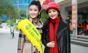 Á hậu Huyền My kín đáo đi từ thiện sau 'bão' scandal