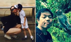 Sao Việt 13/1: Mẹ con Hà Hồ mi nhau tình cảm, Thái Hòa giận dỗi với... khỉ