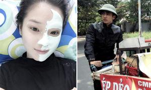 Sao Việt 24/1: Yến Chibi đắp mặt nạ nửa mặt, Bình An đi ép dẻo dạo