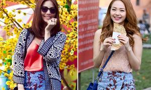 Diễm My, Minh Hằng dạo phố xuân với cùng một kiểu váy