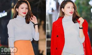 Linh Rin mix đồ đa phong cách với một chiếc áo cổ lọ cơ bản