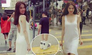 Hot or not: Ngọc Trinh diện đầm sexy với giày thể thao