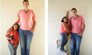 Người khổng lồ 2,34m cưới vợ 1,5m