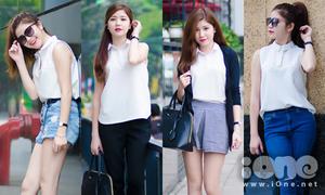 Thử thách sao: An Japan mix 4 kiểu với 1 chiếc áo thun trắng