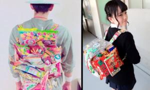 Girl Nhật đua nhau đeo balo như 'quầy đồ ăn di động'