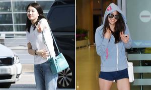 Suzy giàu có vẫn mặc xuề xòa, Dasom lộ đùi ếch
