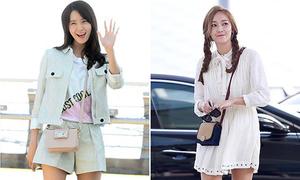 Yoon Ah dùng đồ bình dân, Jessica xuống phong độ ở sân bay
