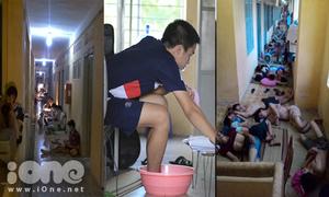 Sinh viên Hà Nội ngủ vật vờ hành lang, ngâm chân, đắp đầu vì nắng nóng