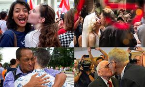 Những nụ hôn ngọt lịm trong ngày lịch sử của cộng đồng LBGT Mỹ