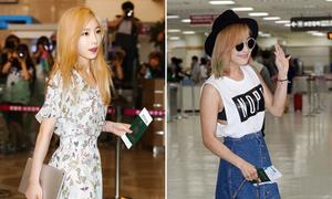 SNSD phủ sóng sân bay, Luna mắc lỗi chọn áo bra