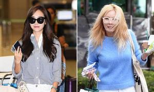 Chị em nhà Jung đọ style, Hyun Ah tóc xơ xác do nhuộm vàng
