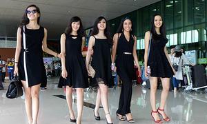 Thí sinh Hoa hậu Hoàn vũ ra sân bay mặc đồ như dự tiệc