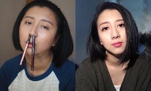 Cô gái Trung Quốc trang điểm vật vã như tấu hài