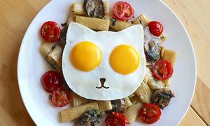 Trứng ốp lếp mặt mèo cho bữa sáng