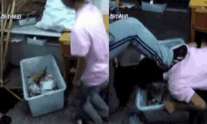 Nữ sinh Trung Quốc ép bạn dùng miệng bới kẹo trong thùng rác