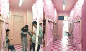 Nam sinh Trung Quốc tân trang phòng ký túc tông hồng mộng mơ