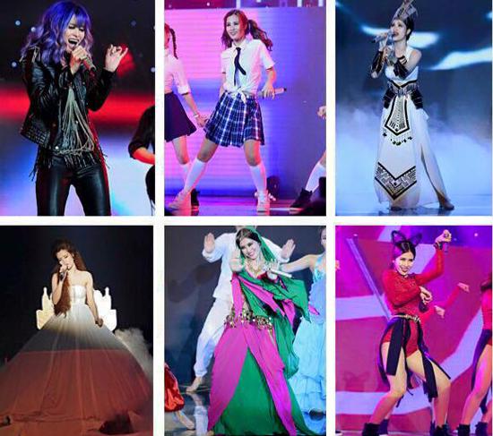 Những trang phục biến hóa liên tục của Đông Nhi trên sân khấu The Remix đều do Ivan thiết kế