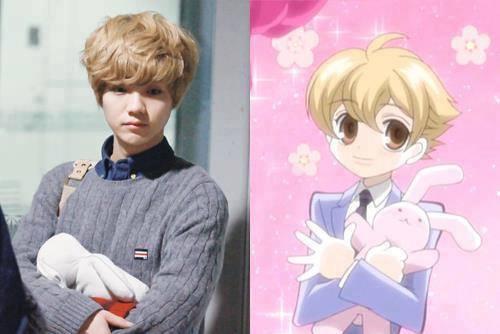 Cựu thành viên EXO Luhan có mái tóc vàng và ôm thỏ bông trông không khác nhân vật Honey trong Ouran High School Host Club.