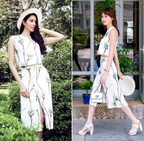 Hai hoa hậu 9X Phạm Hương, Đặng Thu Thảo mỗi người một vẻ trong bộ trang phục gam màu trắng trẻ trung với họa tiết hoa mùa hè gam xanh tươi mát.