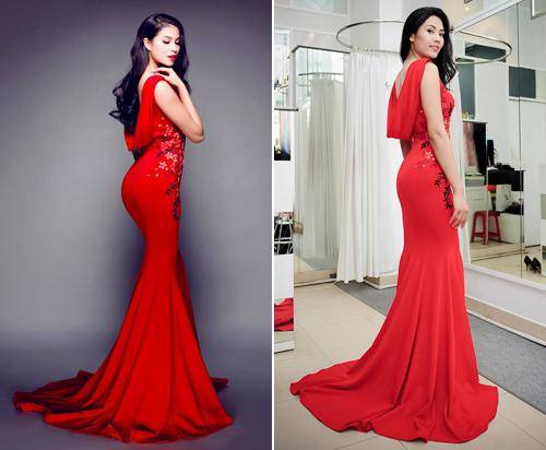 Nguyễn Thị Loan cũng từng thử mặc mẫu váy này trong dịp chọn đồ mặc đi London dự thi Hoa hậu Thế giới.