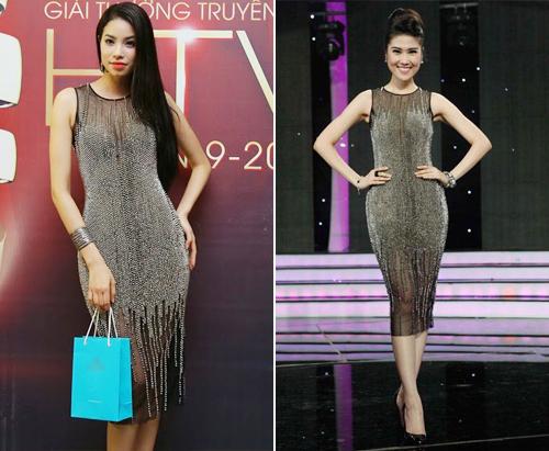 Tân hoa hậu và siêu mẫu Trần Thu Hằng đều xinh đẹp rạng rỡ và nhận được nhiều lời khen ngợi khi diện cùng một mẫu váy xuyên thấu đính saquin.