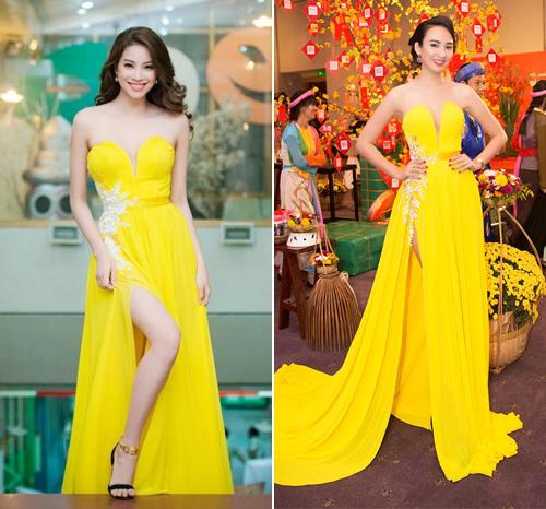 """Phạm Hương và Ngọc Diễm cũng từng """"đụng"""" chiếc váy vàng lộng lẫy."""