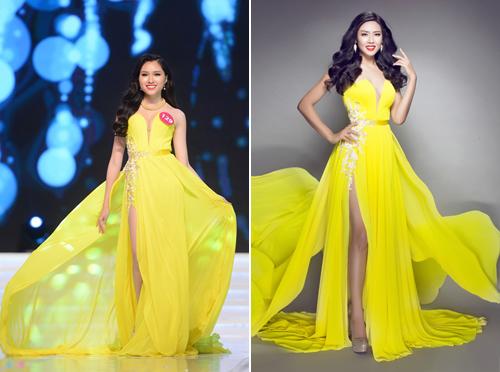ai thí sinh vừa tham dự Hoa hậu Hoàn vũ Việt Nam 2015 Đặng Dương Thanh Thanh Huyền và Nguyễn Thị Loan cũng từng diện mẫu thiết kế cầu kỳ này