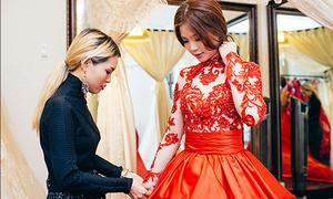 Diễm Trang đi thử váy cưới một mình
