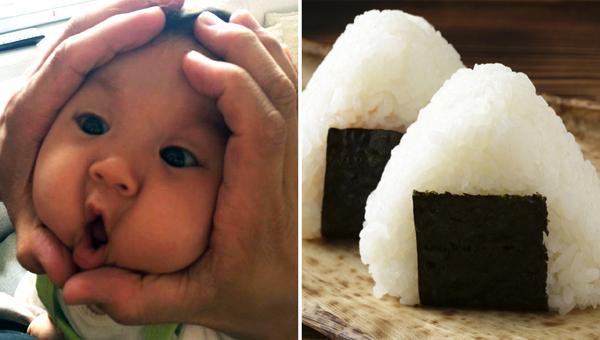 """Cơm nắm onigiri là món ăn có truyền thông lâu đời và rất phổ biến ở Nhật Bản,   thường được tạo hình tam giác bằng tay. Mới đây, các ông bố bà mẹ xứ hoa   anh đào rộ mốt dùng hai tay """"ép"""" mặt em bé nhà mình cho giống hình nắm   cơm đáng yêu."""