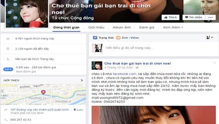 Trang quảng cáo Cho thuê bạn gái bạn trai đi chơi Noel. Ảnh: Nguyễn Hoan.