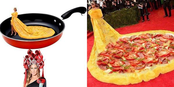 Chiếc váy của Rihanna cũng gây sốt trên mạng với trào lưu chế ảnh thành bánh pizza hay trứng chiên.