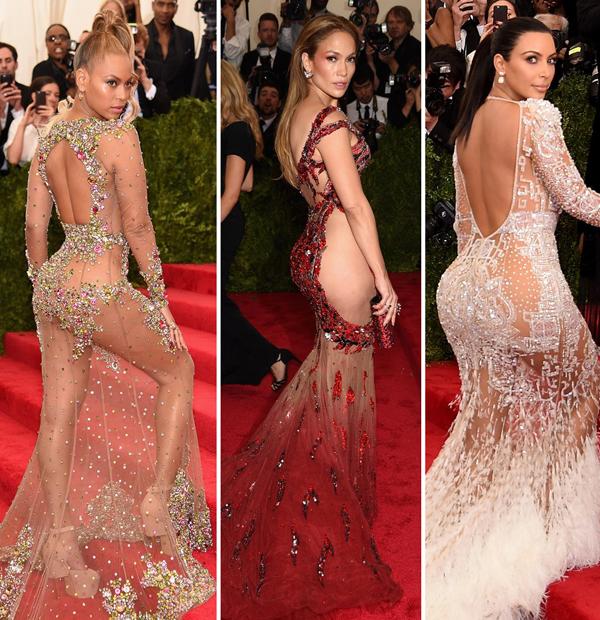 Beyonce, Jennifer Lopez và Kim Kardashian khiến thảm đỏ Met Gala sôi sục khi đồng loạt diện váy khoe vòng ba và đường cong gợi cảm.