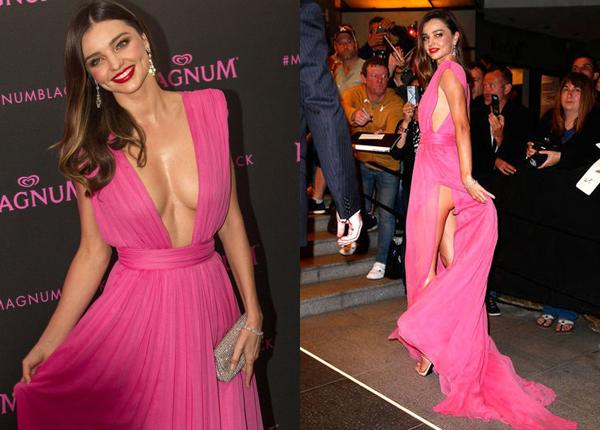 """Miranda Kerr thu hút ống kính trong sự kiện Magnum """"Pink and Black"""" Party tại LHP Cannes 68. Cô mẫu diện chiếc váy hở khá bạo và vô tình hớ hênh khi vén vạt sau váy."""