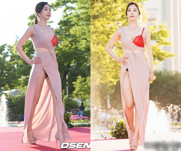 Nữ diễn viên Kim Yoo Yeon thành tâm điểm chú ý khi dạo bước trên thảm đỏ LHP quốc tế Bucheon (BiFan) lần thứ 19 với chiếc váy khoe nội y đỏ - đen khá lố bịch.
