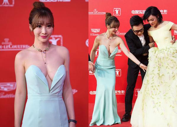 Bộ váy cổ chữ V sâu khiến nữ diễn viên Lim Ji Young bị lộ điểm nhạy cảm trên thảm đỏ lễ khai mạc LHP Quốc tế Gwangju lần thứ 15. Tại sự kiện Korea Drama Awards, Wang Bit Na cũng bị lộ miếng dán ngực khi mặc váy cổ sâu.