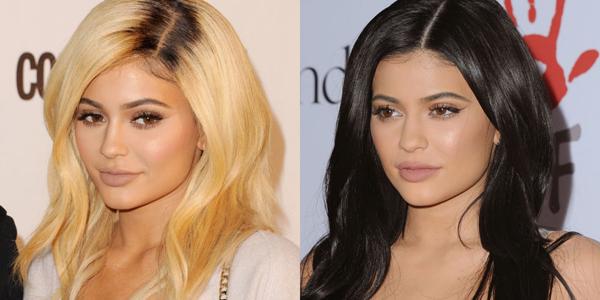 Kylie Jenner cũng khi đổi tóc vàng hoe sang tông nâu.