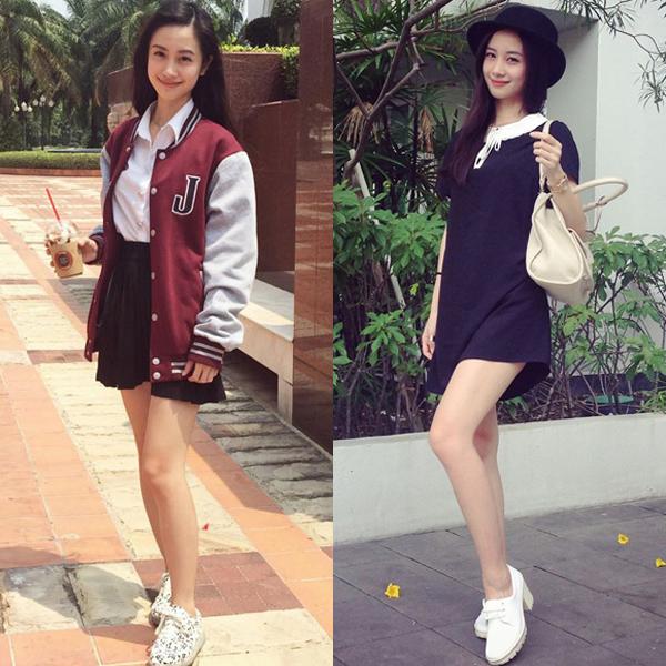 Jun Vũ nổi lên từ bức ảnh mặc đồng phục cầm cốc trà sữa trước cổng trường cách đây 2 năm. Sau đó, hot girl sinh năm 1995 chinh phục nhiều bạn trẻ nhờ phong cách thời trang ấn tượng.