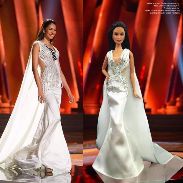 Hoa hậu búp bê Thái Lan cũng được xây dựng dựa trên hình tượng của Hoa hậu Hoàn vũAniporn Chalermburanawong