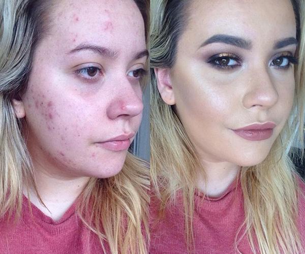 Gương mặt mịn không tỳ vết sau khi makeup.