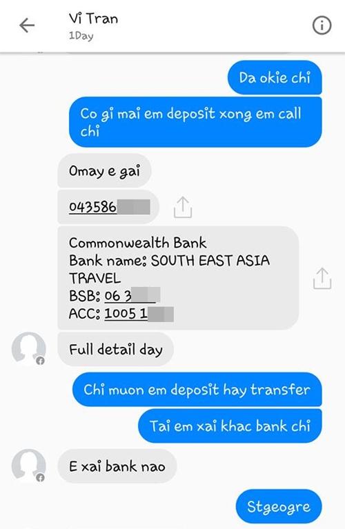 Thông tin về giao dịch ngân hàng giữa Vi Tran và khách
